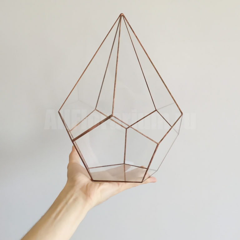 Геометрическая ваза для флорариума Додекаэдр вытянутый (капля)