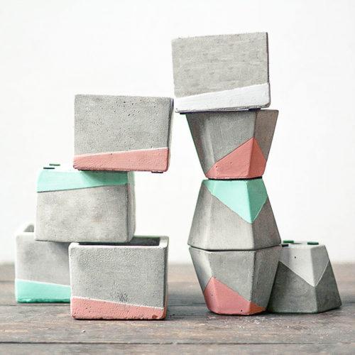 Горшки из бетона Геометрия цвета